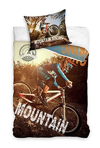Familando Mountainbike Bettwäsche-Set 135x200 cm + Kissen 80x80 cm · MTB Fahrrad · Kinder-Bettwäsche 100% Baumwolle Linon · mit Reißverschluss