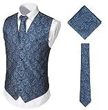 WHATLEES Juego de chaleco, corbata y pañuelo de bolsillo para hombre clásico de cachemira jacquard Ba0213-azul marino. XL