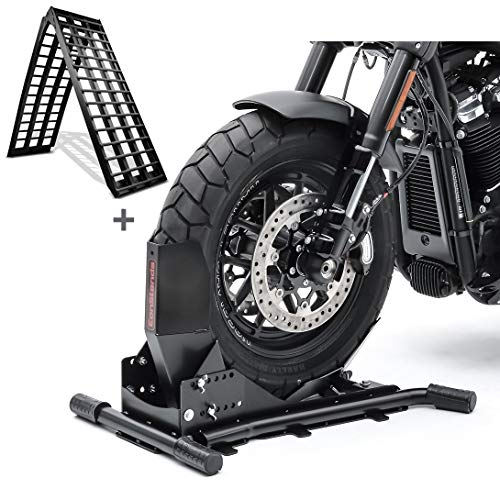 Set Motorradwippe Constands Easy Vario + Auffahrrampe Alu-V schwarz SW6