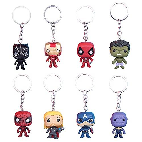 KKTICK Lot de 8 Super Héros Porte-clé, 3D Marvel Porte-clés The Avengers Pendentif Porte-clés Iron Man Keychain, Action Figure Porte-clé pour Les Fans de Marvel Garçon Fille Cadeau d'anniversaire