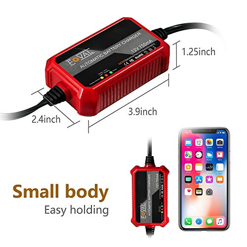 Foval 750mA Automatic Trickle Battery Charger 12V 0.75Amp Smart Battery Charger for Car Motorcycle Lawn Mower SLA AGM GEL CELL WET Lead Acid Batteries