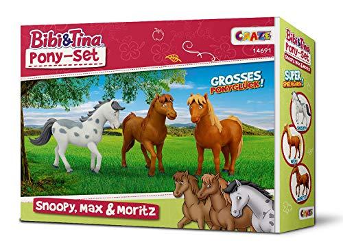 CRAZE BIBI & TINA Ponyset Ponyfiguren Spielfiguren 3er Set Ponys zum Spielen und Sammeln Snoopy Max Moritz 14691