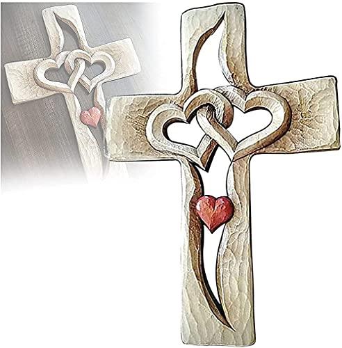 Gesneden houten kruis – verweven harten, houten liefde kruis hand gesneden antiek ontwerp, twee harten samengevoegd, muur opknoping huis woonkamer decor, het beste cadeau voor vrienden, geliefden en familieleden.