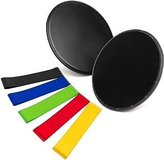 OBEST Resistance Bands & Sliders, Gliding Discs Core Sliders & Exercise Resistance Loop Bands, Set of 5 Natural Latex Work...