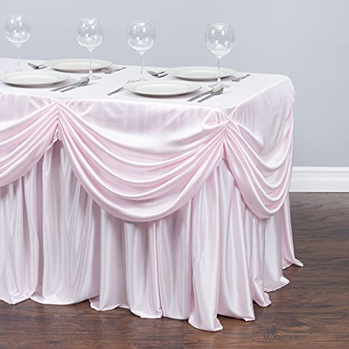 4 ft. Drape Chiffon All-in-1 Tablecloth/Pleated Skirt Light Pink