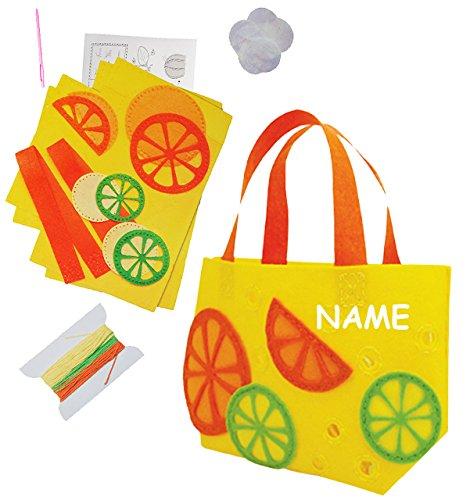 alles-meine.de GmbH Bastelset - Filz Tasche -  Orangen & Zitronen  - zum Sticken, einfaches Nähen per Hand - incl. Name - Filztasche - Komplettset filzen Blüten - Creativ - Fil..