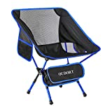 Oudort Portable Camping Chairs, Ultralight Foldable Chairs Adjustable Backpacking Collapsible Beach Chair with 2 Pockets for Camping, Hiking and Travelling, Max Hold to 300 Pounds (2-Blue)