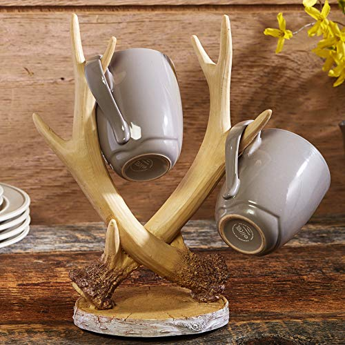The Lakeside Collection Faux Antlers Coffee Cup and Mug Tree Rack with Birch Embellishments