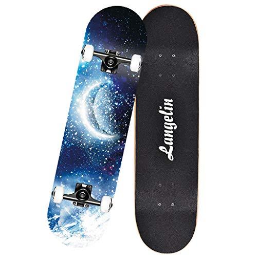 SONGTING Step stool Skateboard Deck, Erwachsene Kinder Skateboard, Komplettboard mit MARKTOP - 608 Lager 7-lagiges Hartahorn Deck, 31 X 8 Lnches