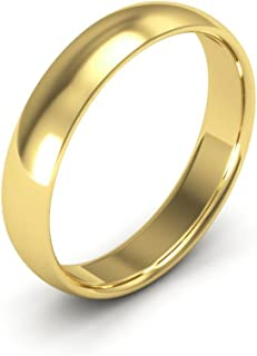 14K Yellow Gold men's and women's plain wedding bands 4mm comfort-fit light