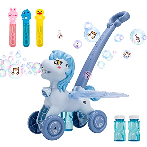 ABOUT ME Bubble Lawn Mower for Toddlers,Electronic Bubble Blower Machine with Music and Light,Push Toys for Kids,Toddler Outdoor Toys ,Best Birthday Toy for Kids,Boys,Girls (Blue)