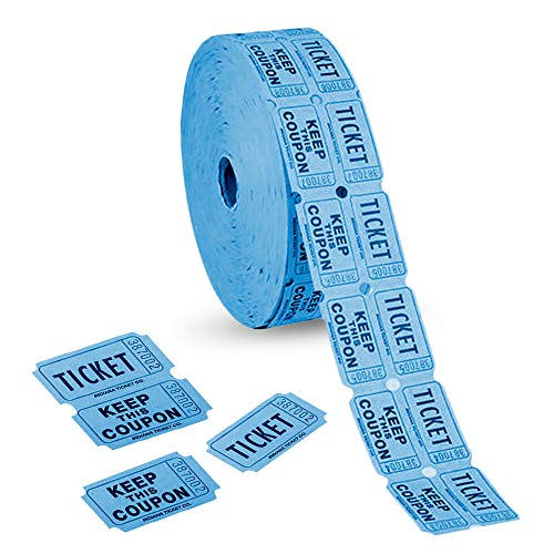 ArtCreativity Double Carnival Tickets Roll with 2000 Tickets, Numbered Event Admission Tickets for Kids' Fair, Fundraiser, Musical Festival, Movie Screening, Card Stock Paper, Blue