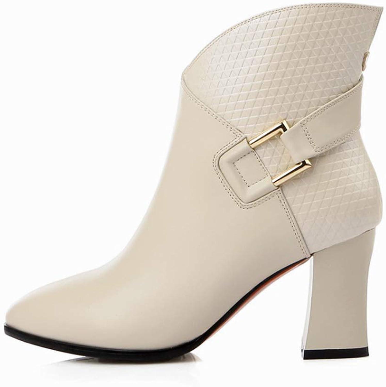 YAN Damenmode Schuhe Leder Frühjahr Herbst Stiefelies Stiefeletten Reiverschluss Rough High Heels Hochzeit Party & Abendkleid Schuhe