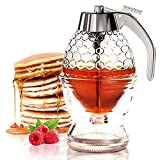 CLEVLI Honey Dispenser with Non Slip Support and Flip Top Lid, No...