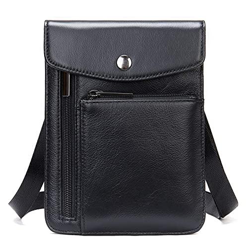 Riñonera para hombre y mujer, pequeña y elegante bolsa de mensajero vertical vertical para hombre y mujer, bolsa de mensajero de hombro para hombre y mujer, Negro, Talla única,