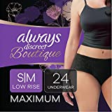 Always Discreet Boutique Low-Rise Postpartum Incontinence Underwear Size S/M Maximum Absorbency, Up to 100% Leak Protection, Black, Total 24 Count (Packaging May Vary)