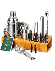 CHASSTOO Cocktail Set 28 Pieces Cocktail Shaker Set with Stand, Mixology Bartender Kit, Large Stainless Steel Bar Tools Set with Cocktail Recipe Cards, Professional Bar Accessories for Home Mixing