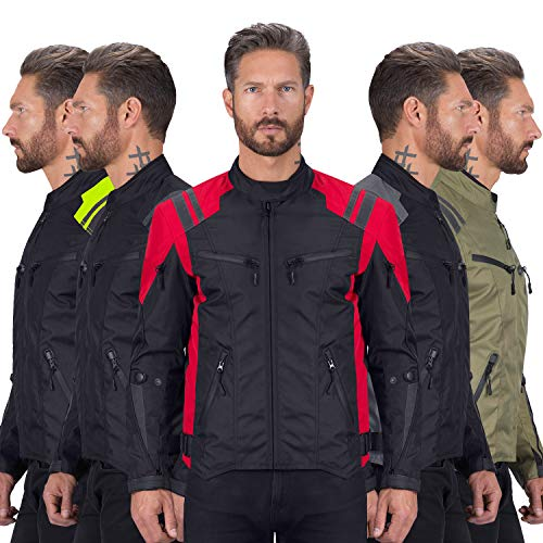 Viking Cycle Ironborn Protective Textile Motorcycle Jacket for Men - Waterproof, Breathable, CE Approved Armor for Bikers (Red, Medium)