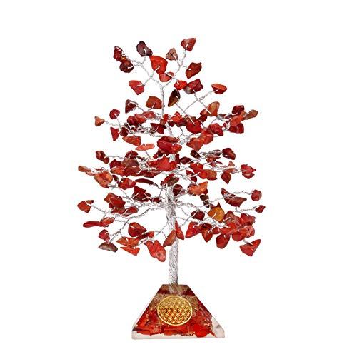 PYOR Red Jasper Crystal Tree of Life Buddha Statue Chakra Balancing Home Décor Sculpture Aura Cleansing Prosperity Stones Bonsai Trees Handmade Spiritual Gift Gemstone Pyramid Base