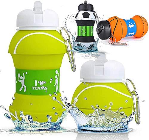 Botella Agua Silicona Diseño Tenis y Deporte - Niños, Niñas y Adultos-...