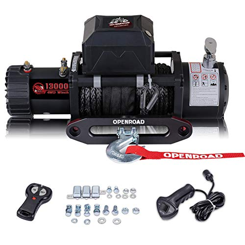 OPENROAD 13000 lb winch with Synthetic Rope, 12V Electric Winch Recovery Kit, Come with Fairlead, Wireless Remote Controls and Overload Protector,Automatic Power off Winch For Jeep,Truck and SUV