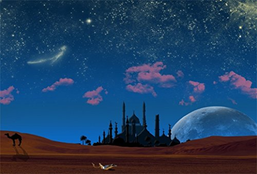 AOFOTO 7x5ft Magic Aladdin's Genie Lamp in Desert Backdrop Mosque in Night Photography Background Fantasy Starry Sky Camel Wish Mysterious Luck Mythology Fairy Tale Photo Studio Props Child Wallpaper