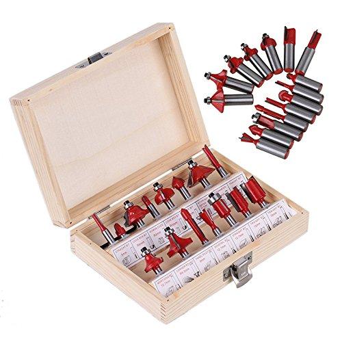Floratek Holzfräser-Set, 6,35 mm, 15-teilig, Hartmetall-Schaft, Holzbearbeitung, Trimmmesser, Formen, Fräser, mit praktischer Holzkiste