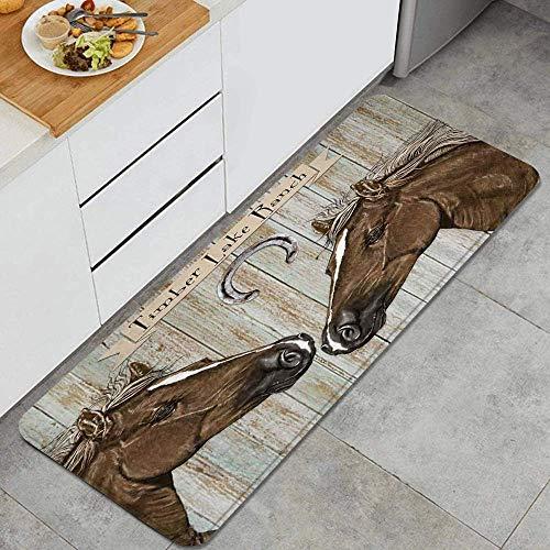 Tappeto da cucina antiscivolo,rustico country Westen fattoria Texas cavallo e ferro di cavallo arrugginito su tavola di legno vintage,design tappetino da cucina Tappetini Tappeti da cucina 45x 120cm