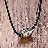 Aluyouqi Co.,ltd Collar de Acero Inoxidable para Hombre, 6 Palabras, Colgante de Mantra de Buda, Gargantilla con Encanto de Perlas de la Suerte para Hombre, joyería con Cuerda Trenzada 20 \