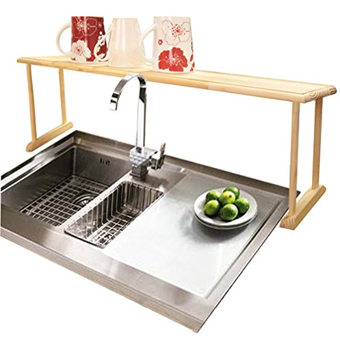 Modern-Product Oak Wood Construction Shelves Drawers Over Sink Shelf Create Extra Storage Space for Your Kitchen