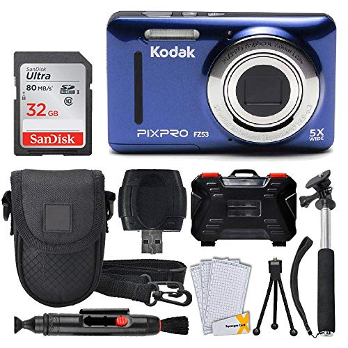 Kodak PIXPRO FZ53 16.15MP Digital Camera + 32GB Memory Card + Point and Shoot Camera Case + Extendable Monopod + Lens Cleaning Pen + LCD Screen Protectors + Table Top Tripod – Ultimate Bundle (Blue)