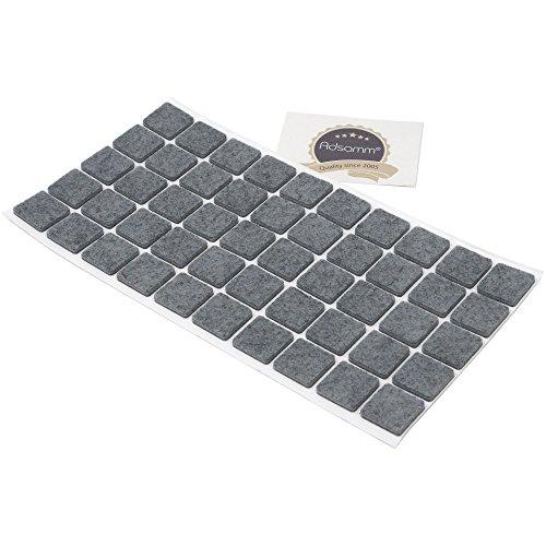 Adsamm® | 50 x almohadillas de fieltro | 20x20 mm | gris | cuadrado | Protectores de suelo para patas de mueble | auto-adhesivos | con grosor de 3,5 mm de la máxima calidad