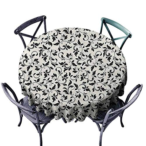 modern Round tablecloth Jacquard Tablecloth Leaf,Black and White Pattern with Swirled Skinny Branches with Leaves Old Fashioned Scroll, Black Cream diameter 138 cm