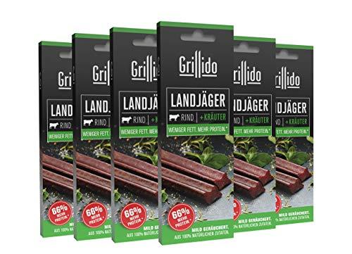 Grillido Landjäger I 6er Pack Rind & Kräuter I Die Beef-Jerky Alternative ohne Zucker | mit 40% Eiweiß und nur 9,7% Fett pro Landjäger
