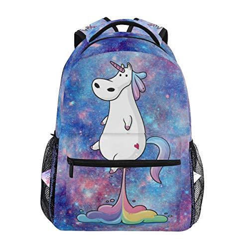 Divertidas mochilas de unicornio arco iris Galaxy Love Heart bolsa de libro para ordenador portátil, mochila casual extra duradera, ligera, para viajes, deportes, día para hombres y mujeres