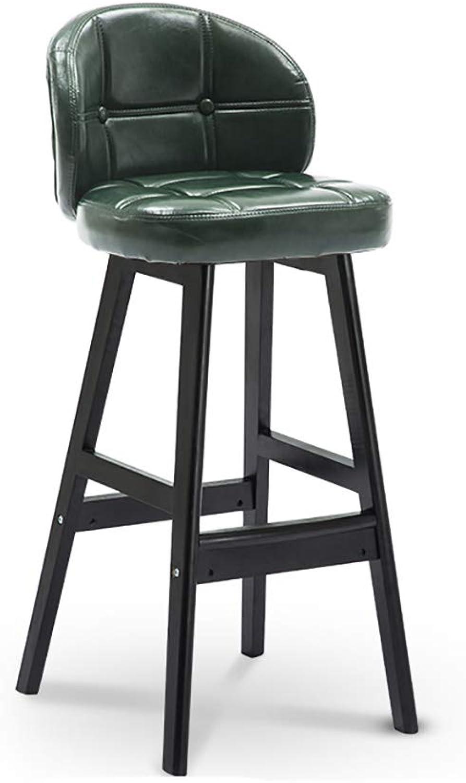 NUBAO Barhocker, Barstuhl, Restauranthocker, Gegenstuhl, Sessel Aus Massivem Holz, Schwammfüllung EIN Paket Ulme 4 Fu Hhe 60   68cm 5 Farben (Farbe   Leather Grün, gre   68cm)