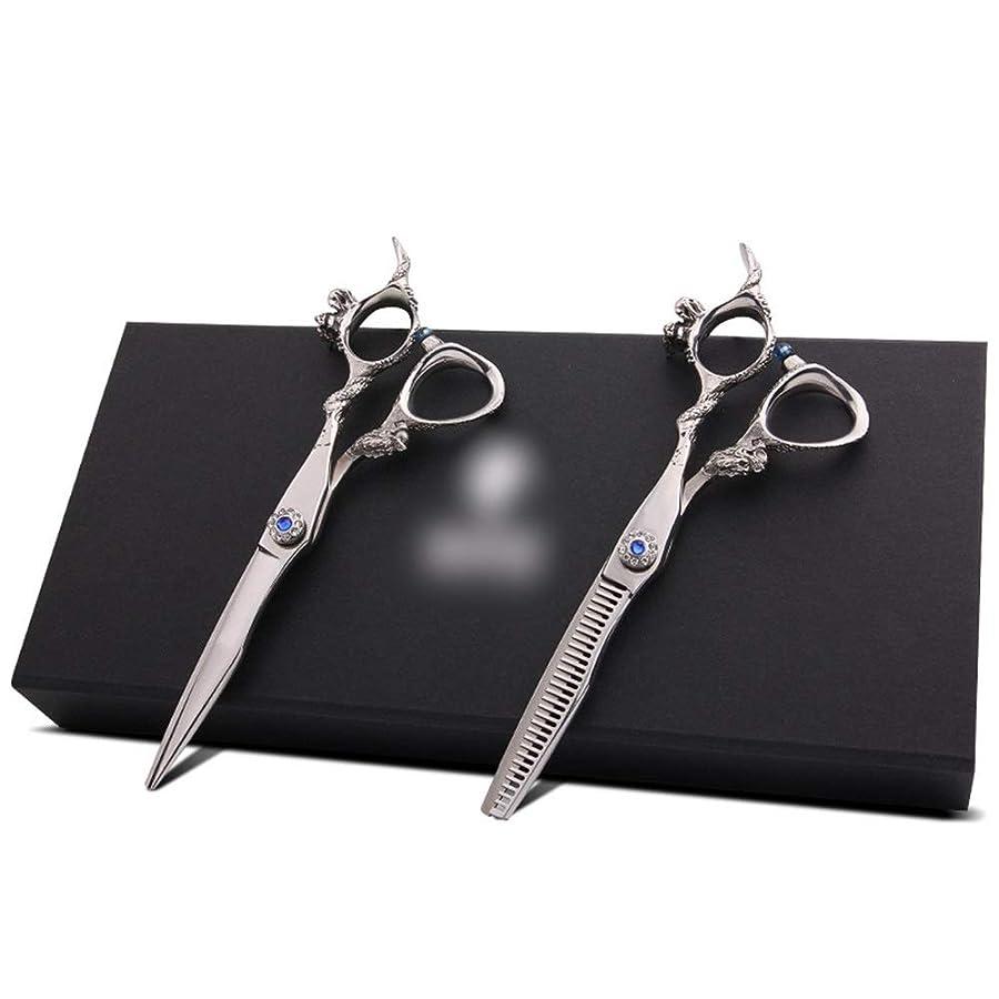 隠す縫い目多様な6インチ理髪はさみセット、歯シザー散髪セット モデリングツール (色 : Silver)