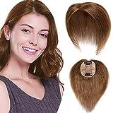 Topper Capelli Veri Donna Extension con Clip 15cm Fascia Unica 100% Remy Human Hair #6 Marrone Chiaro Donna Toupet 6×9cm 15g/Set