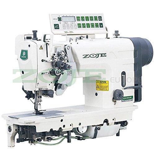 ZOJE - Máquina de coser industrial con 2 agujas, para coser industrial, transporte de agujas, totalmente automática, máquina de coser industrial, completa (con mesa y soporte)