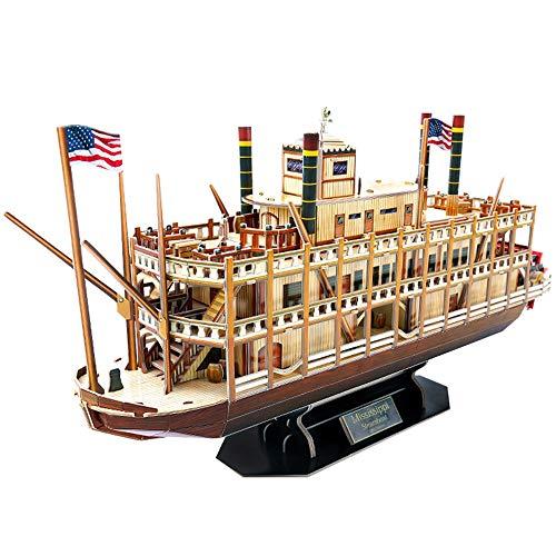 PHLPS Tridimensional Puzzle Regalos Nave Modelo de Juguetes for Adultos y niños de América Global Trade Mississippi Steamboat Educación Reunidos Juguetes