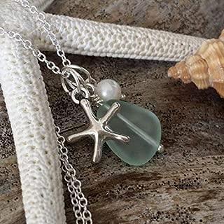 Handmade in Hawaii, seafoam sea glass necklace,Freshwater pearl, sea starfish charm, gift box, sea glass jewelry,beach glass jewelry.