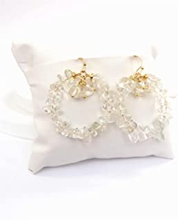 مجوهرات الأزياء لون الذهب جولة الطبيعية سحق حجر الخرز حلق المرأة العصرية استرخى أقراط يانجين (اللون: شفاف)