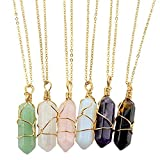 caiyao 6 Pcs Hexagonal Crystal Pointed Quartz Natural Colorful Wire Wrapped Gemstone Stone Pendant Adjustable Necklace Friendship Couple Jewelry for Women Girls-Gold