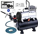 2 Pro Airbrush Kit and Quiet Airbrush Compressor with Air Tank,Cleaning Brush Set,Moisture Filter Regulator,Pressure Gauge, Air Hose,Holder for Painting,Makeup Cake Spray Model Tattoo Nail Art