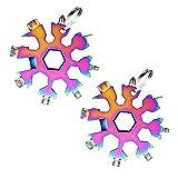 2 pezzi in acciaio inox con fiocchi di neve multi-tool, 18 in 1, in acciaio inox, multifunzione, per attività all'aperto, viaggi, campeggio