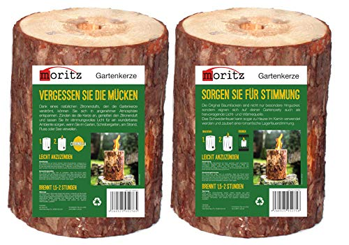 Moritz 1 torcia svedese normale + 1 torcia profumata alla citronella con stoppino di accensione, torcia da giardino, torcia in legno, 1,5 – 2 ore di durata 20 cm di altezza