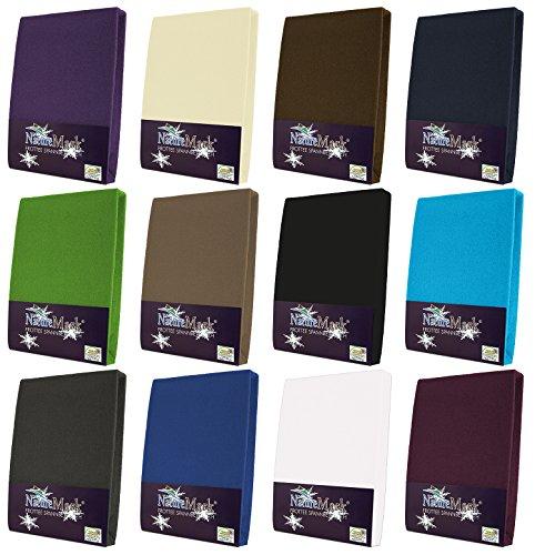 NatureMark Frottee Spannbetttuch, Spannbettlaken in Allen Größen und vielen Farben (90x200 bis 100x200 cm, schwarz)