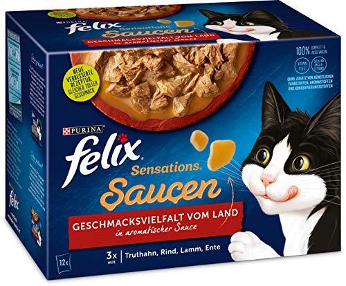 Felix Katzennassfutter Sensations Saucen Geschmacksvielfalt vom Land, 6er Pack (6 x 12 x 85g) Portionsbeutel