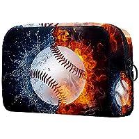 化粧ポーチオーガナイザーポータブルトラベルコスメティックケース火水帯野球 ストレージラージポケットジッパー