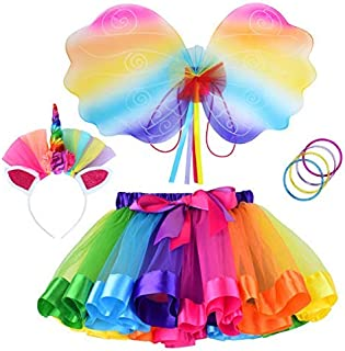 Toy4baby Rainbow Tutu Dress Birthday Outfit for Little Girls with Headband and Bracelets
